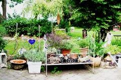 Harmonisch entworfener Hausgarten mit vielen Grün lizenzfreie stockbilder