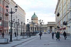 Harmonized of old and new world. Historic place in between new buildings in Saint Petersburg city, Russia, Europe Stock Photography