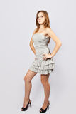 Harmonous girl model in a gray dress Royalty Free Stock Image
