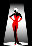 Harmonous woman. Silhouette of the harmonous woman on a black background Stock Image