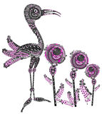 Harmony. Stork is a bird in the colors in an ethnic style Royalty Free Stock Image