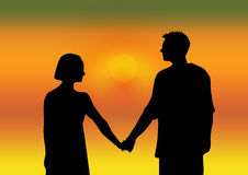 Harmony. Lovely couple holding hands royalty free illustration