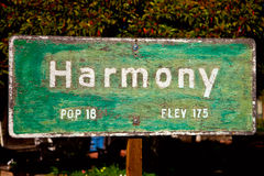 Harmony. Sign in the town of Harmony, California royalty free stock photo