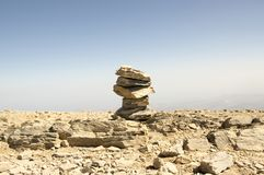 Harmony and balance, poise stones against the blue sky in the mountains, rock zen sculpture. Cairn, sunny day, mountains Idi, Crete, Greece stock images