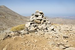Harmony and balance, poise stones against the blue sky in the mountains, rock zen sculpture. Cairn, sunny day, mountains Idi, Crete, Greece, viewpoint royalty free stock images
