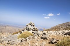 Harmony and balance, poise stones against the blue sky in the mountains, rock zen sculpture. Cairn, sunny day, mountains Idi, Crete, Greece, viewpoint stock photos