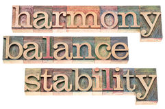 Harmony, balance and stability. Typography - isolated text in letterpress wood type printing blocks Stock Image