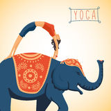 Harmony and balance. Young woman doing yoga standing on the back of an elephant. Flat style illustration Royalty Free Stock Photo