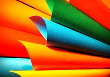 Multicolor paper background. Colored paper sheets composed in harmony of colors Stock Photo