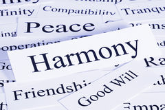 Harmony Concept. A conceptual look at harmony, peace, friendship, good will, compatibility stock photography