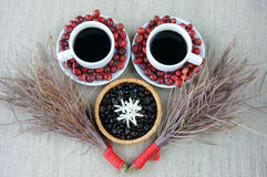 Harmony creative, coffee bean, cup of cafe,  ripe berries Royalty Free Stock Photo