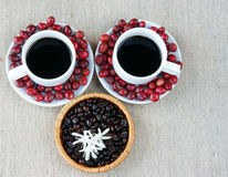 Harmony creative, coffee bean, cup of cafe,  ripe berries Royalty Free Stock Photos
