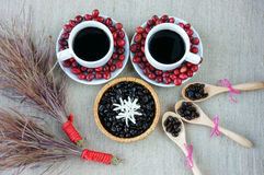 Harmony creative, coffee bean, cup of cafe,  ripe berries Stock Photography