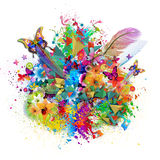 Harmony floral background. Colorful Harmony floral background with butterflies Stock Photography