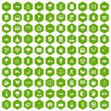 100 harmony icons hexagon green. 100 harmony icons set in green hexagon isolated vector illustration royalty free illustration