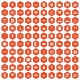 100 harmony icons hexagon orange. 100 harmony icons set in orange hexagon isolated vector illustration Stock Illustration