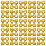 100 harmony icons set gold. 100 harmony icons set in gold circle isolated on white vectr illustration stock illustration
