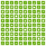 100 harmony icons set grunge green Royalty Free Stock Photos