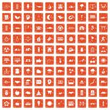 100 harmony icons set grunge orange. 100 harmony icons set in grunge style orange color isolated on white background vector illustration Vector Illustration