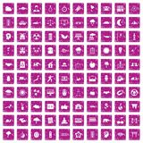100 harmony icons set grunge pink. 100 harmony icons set in grunge style pink color isolated on white background vector illustration Royalty Free Stock Photos
