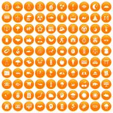 100 harmony icons set orange. 100 harmony icons set in orange circle isolated vector illustration Vector Illustration