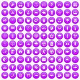 100 harmony icons set purple. 100 harmony icons set in purple circle isolated vector illustration Stock Illustration