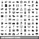 100 harmony icons set, simple style. 100 harmony icons set in simple style for any design vector illustration stock illustration