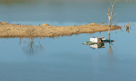Harmony landscape, floating house ,reflection, dry tree Stock Images