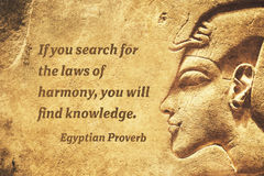 Harmony laws EP. If you search for the laws of harmony, you will find knowledge - ancient Egyptian Proverb citation Royalty Free Stock Photography