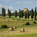 Harmony with nature. Val d'Orcia, or Valdorcia, is a region of Tuscany, central Italy. In 2004 the Val d'Orcia was added to the UNESCO list of World Heritage Stock Images