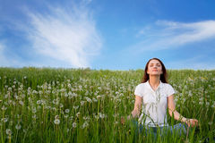 Harmony with nature. Meditation and harmony with nature royalty free stock photography