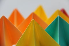 Origami forms in pastel colors Stock Photo