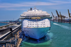 Harmony of the Seas in Barcelona. Barcelona, Spain - June 7, 2016:  Royal Caribbean`s, Harmony of the Seas, is now the largest ship in the world, with a gross Stock Photos