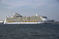Harmony of the Seas world's largest cruise ship. Harmony of the Seas the worlds' largest cruise ship sailing down Southampton Water in southern England UK Stock Image