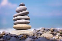 Harmony stones by the sea stock photos