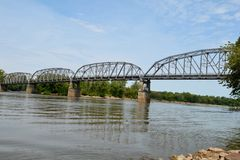 Harmony Way Bridge. This is a Summer picture of the Harmony Way Bridge that spans the Wabash River and connects New Harmony, Indiana and White County, Illinois Stock Image