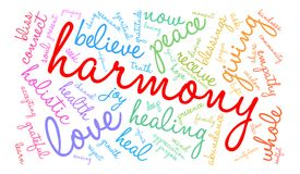 Harmony Word Cloud. On a white background Royalty Free Stock Photography
