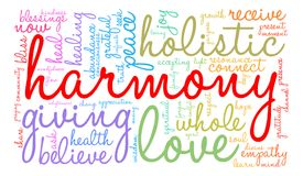 Harmony Word Cloud. On a white background Royalty Free Stock Images