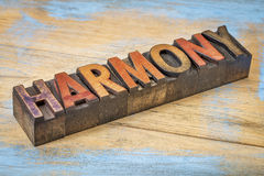 Harmony word in wood type Stock Images