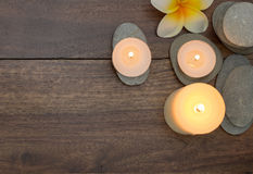 Harmony zen composition of stones and burning candles Stock Images