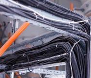 Harnais de câblage pour le câblage électrique noir, plan rapproché, câbles électriques, industrie photos libres de droits