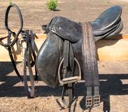 Harness. Old leather harness hangs on a wooden fence stock photography