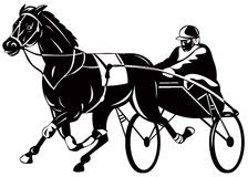 Harness racing. Vector art on harness racing isolated on white Stock Photography