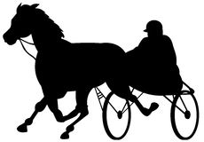 Harness racing. Vector art on harness racing isolated on white Royalty Free Stock Photos