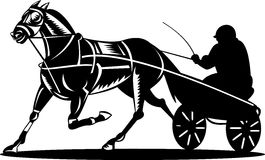 Harness racing. Vector illustration of sport of Horse Harness racing Stock Image