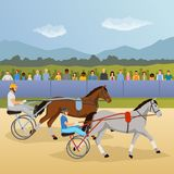 Harness Racing Flat Composition. With jockeys and horses, spectators behind fence on natural landscape background vector illustration Stock Images