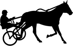 Harness racing silhouette. Harness racing horse silhouette vector illustration Stock Photo