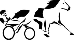 Harness. Stylized harness racing - black and white illustration Stock Image