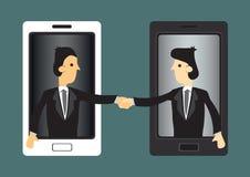 Harnessing Modern Technology for Business Vector Illustration. Cartoon businessmen extending hands out of handphone screen for handshake. Concept vector Stock Photography