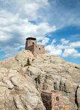 Harney alza la torre dell'allerta del fuoco e la cabina delle pompe verticalmente in Custer State Park nel Black Hills Fotografie Stock